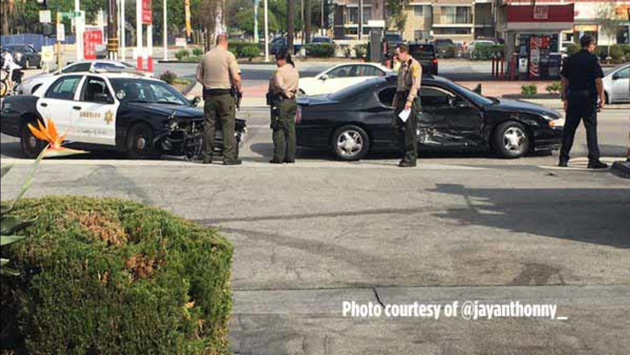A patrol car with the Los Angeles County Sheriff's Department was involved in a crash at the intersection of Covina Boulevard and Citrus Avenue in Covina on Sunday, Feb. 28, 2016.