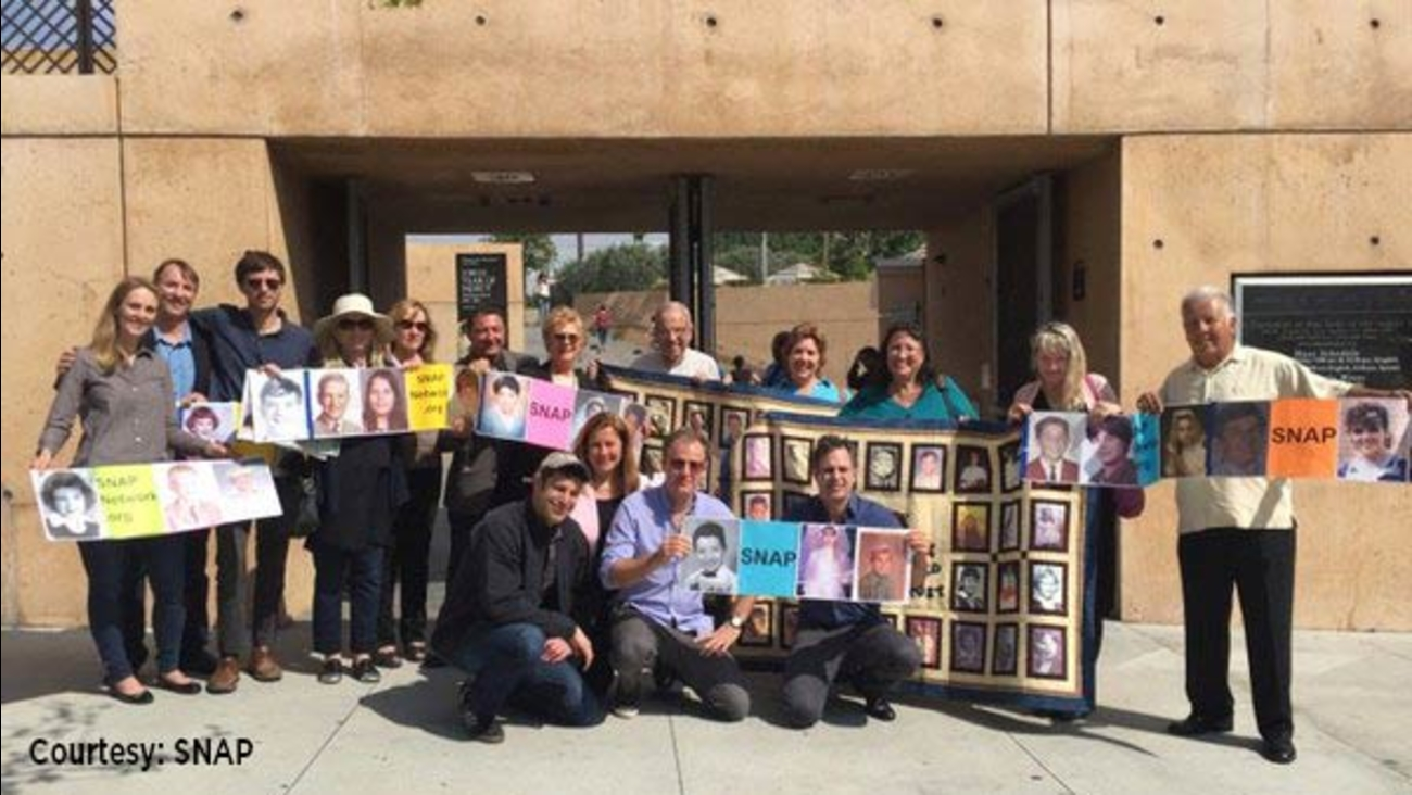 Actor Mark Ruffalo, front right, joined survivors of priest sexual abuse in a protest at the Cathedral of Our Lady of the Angels in downtown LA on Oscar Sunday, Feb. 28, 2016.
