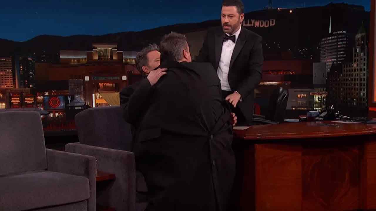 "Ben Affleck sneaks Matt Damon onto ""Jimmy Kimmel Live"" on the post-Oscars show in Los Angeles on Sunday, Feb. 28, 2016."