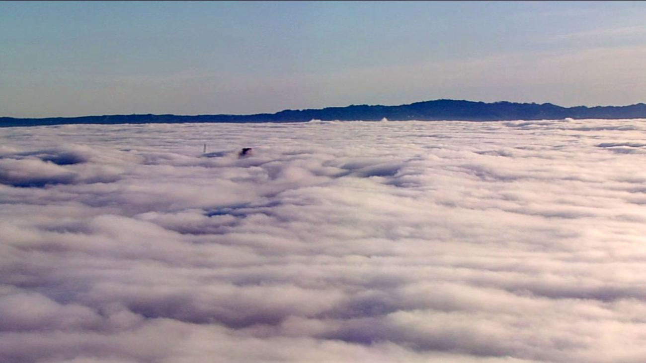 Fog covers the San Francisco skyline, Monday February 29, 2016.