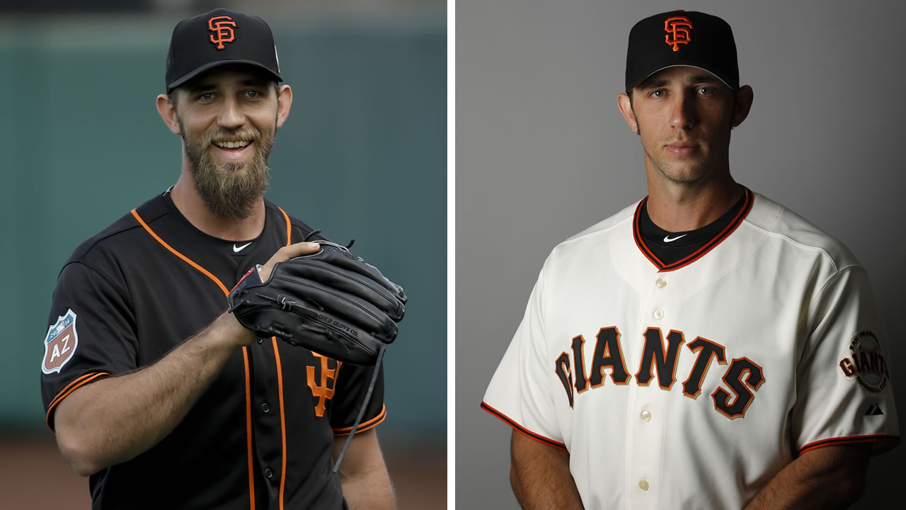 Sf Giants pitcher Madison Bumgarner from February 28, 2016 on the left, photo of the star pitcher at Spring Training in Scottsdale, Ariz. on February 18, 2016 on the right.