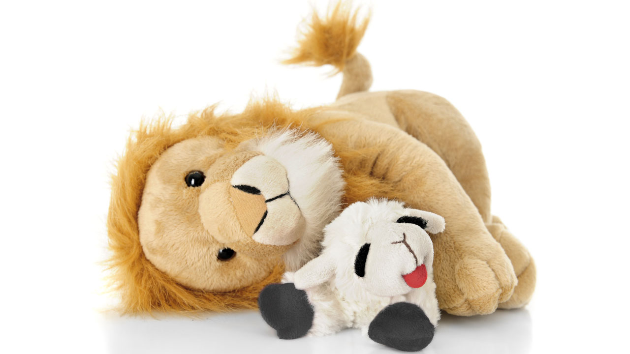 Lion and lamb stuffed animal
