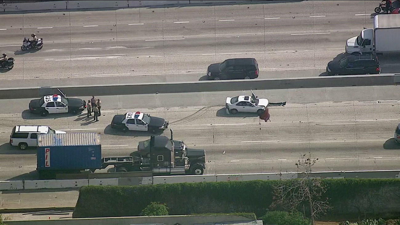 A suspect crashed a stolen vehicle Tuesday, March 1, 2016 during a brief chase on the southbound 710 Freeway near Humphreys Avenue in East Los Angeles.