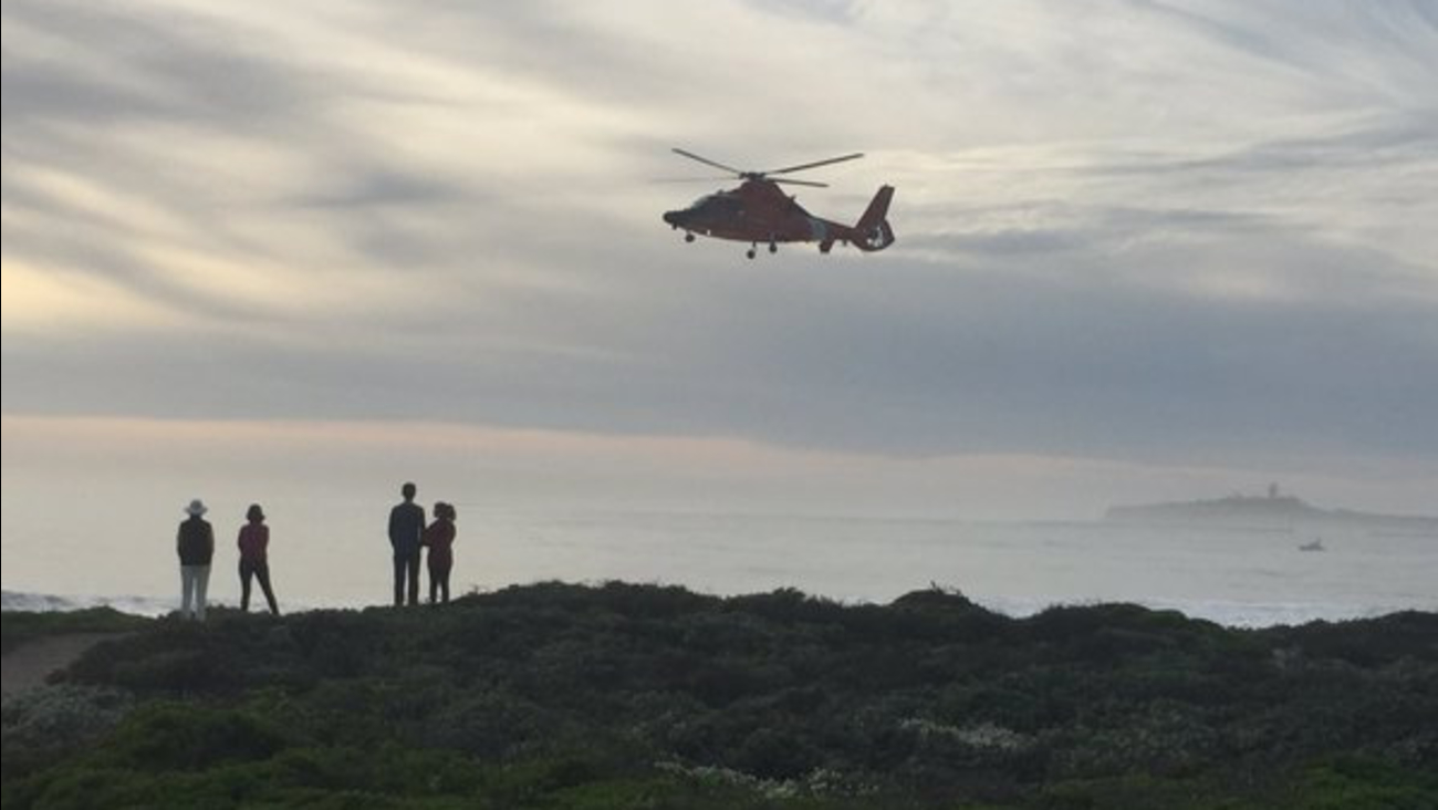 The U.S. Coast Guard searches for a man who got swept out to sea in Half Moon Bay, Calif. on Monday, February 29, 2016.