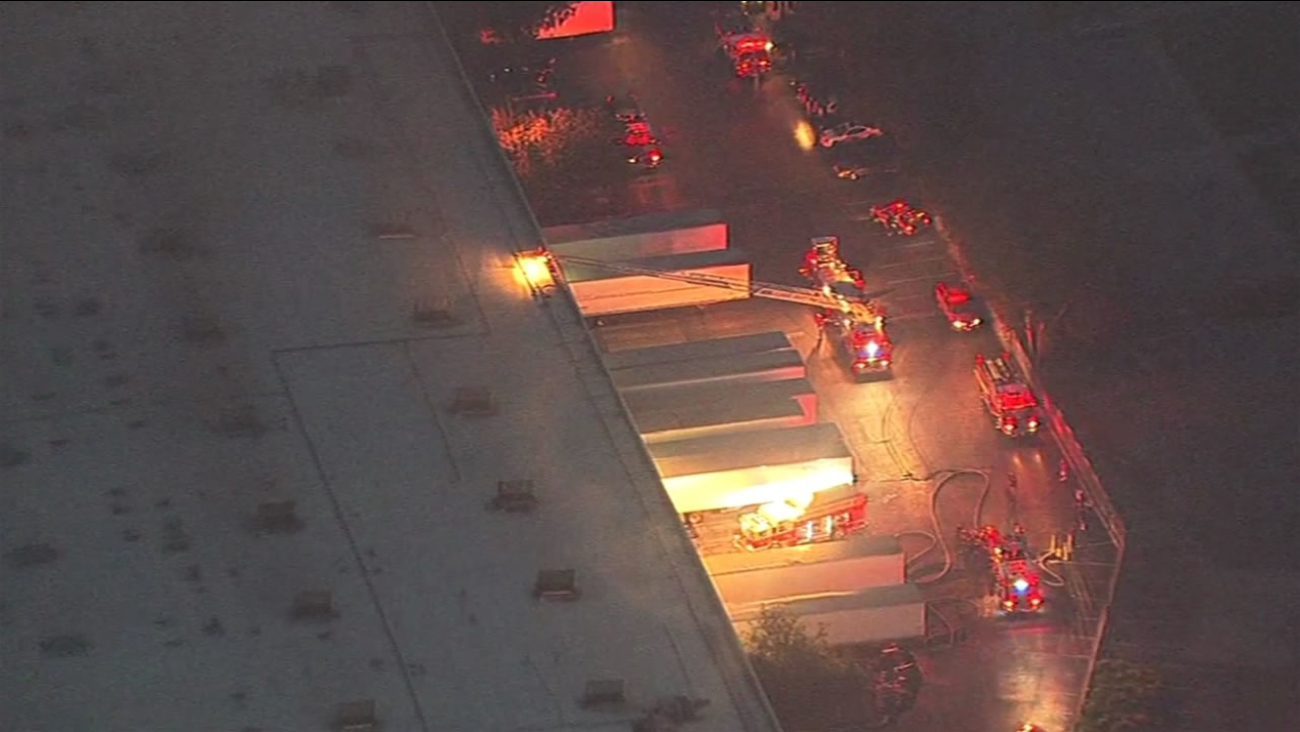 Firefighters are responding to a one-alarm fire at a warehouse in San Leandro, Calif. March 2, 2016.