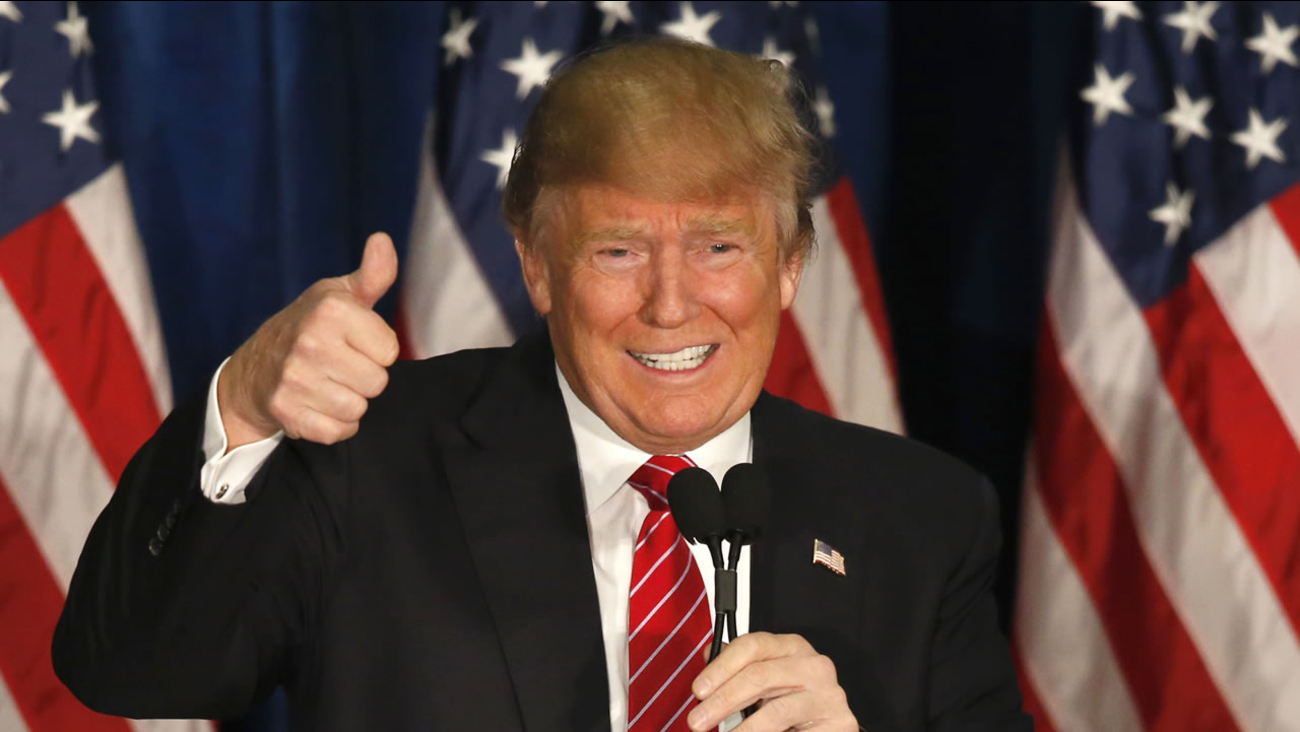 Republican presidential candidate Donald Trump gives a thumbs-up as he speaks at campaign stop, Thursday, March 3, 2016, in Portland, Maine.
