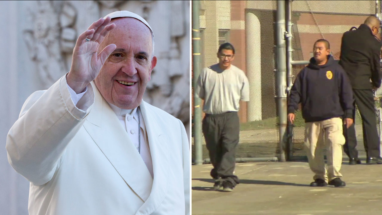 Pope Francis is shown on the left alongside an image of Carlos Adrian Vazquez Jr., a teen serving and 11-year sentence for involuntary manslaughter.