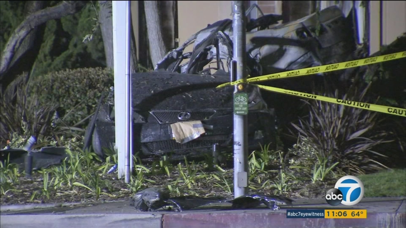 Two people were killed after their speeding car crashed into an apartment building in Huntington Beach on Friday, March 4, 2016.