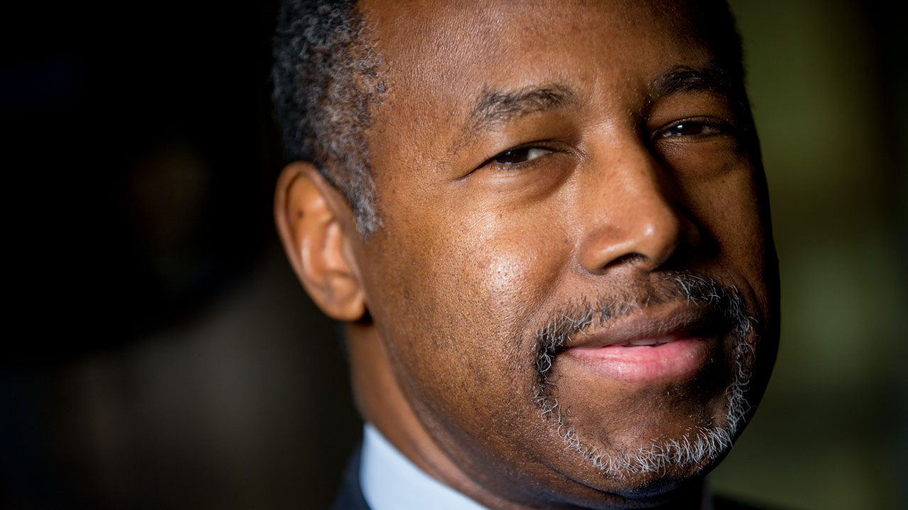 Republican presidential candidate Dr. Ben Carson poses for a photograph before speaking with The Associated Press in his home in Upperco, Md., Wednesday, Dec. 23, 2015.