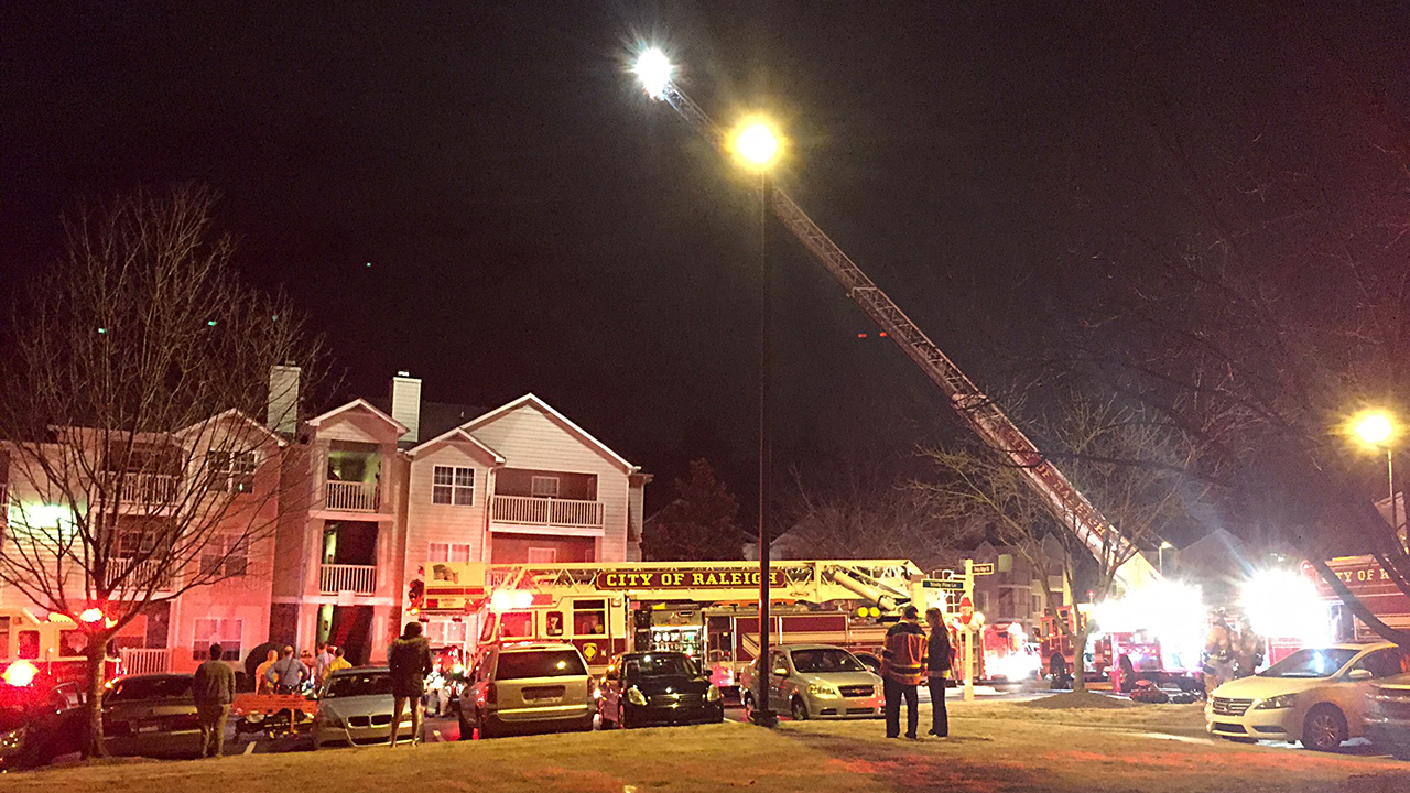 Raleigh firefighters quickly knocked down a fire in the 1100 block of Trinity Pine Lane on Friday night.