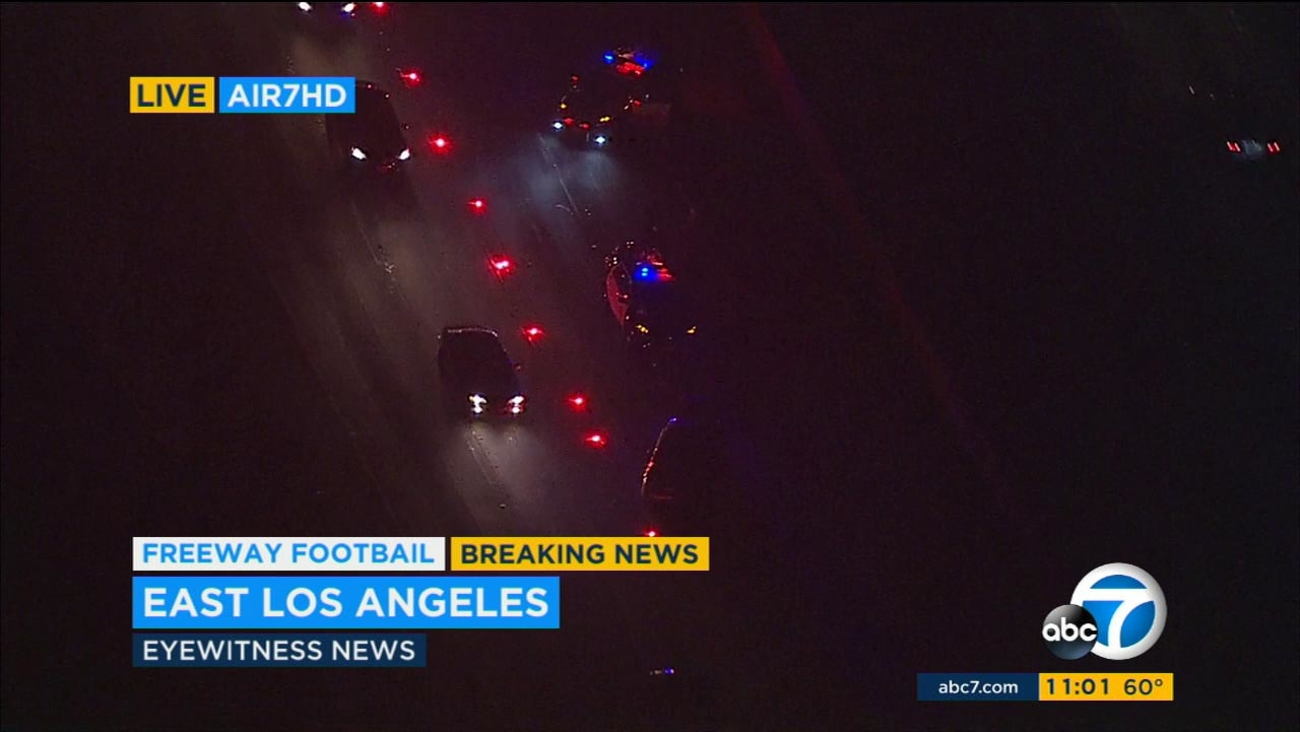 A police chase of armed shooting suspects led to a crash on the 60 Freeway.