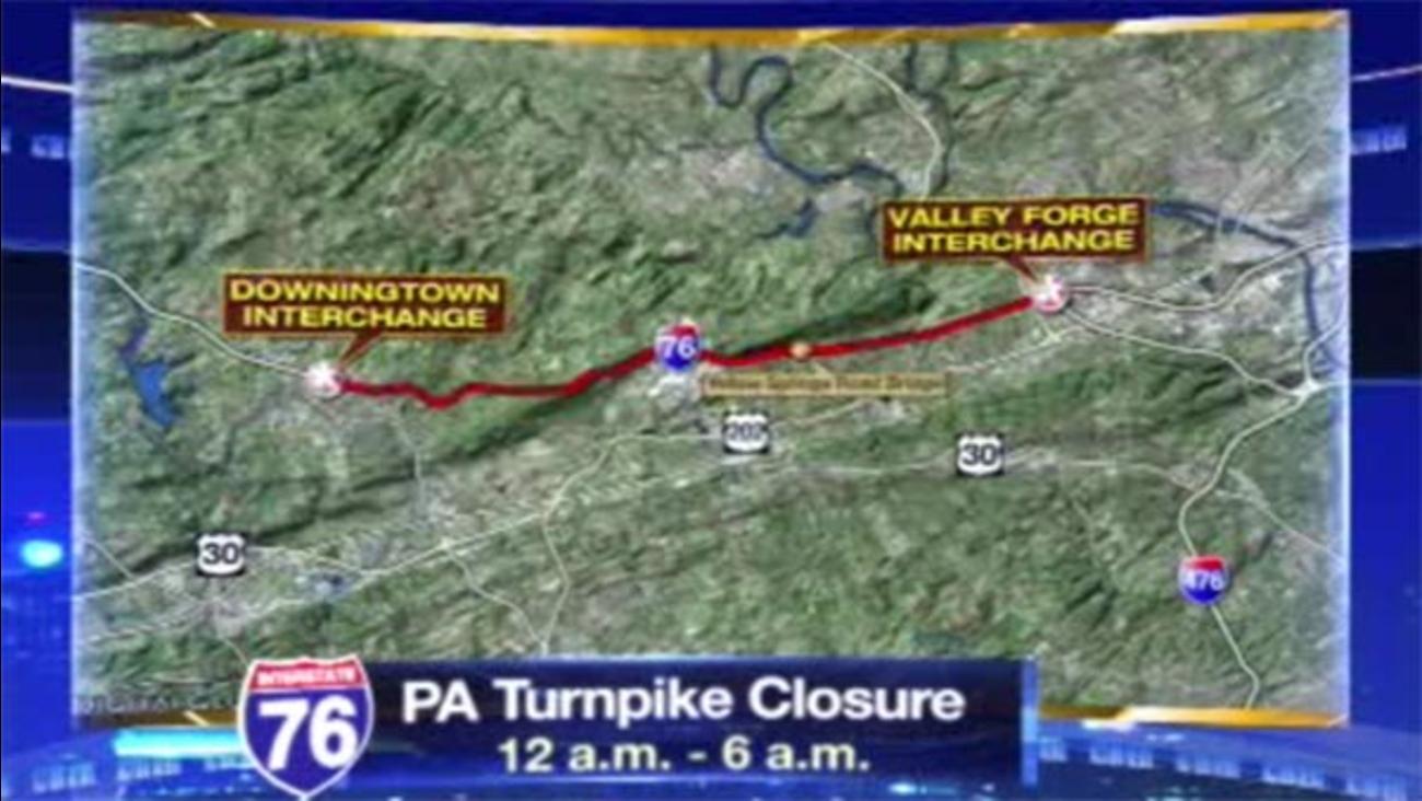 TRAFFIC ALERT: Stretch of Pa. Turnpike closed overnight