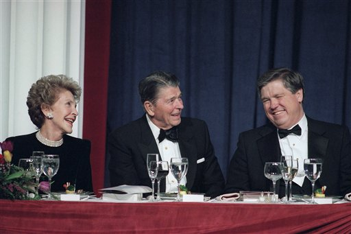 <div class='meta'><div class='origin-logo' data-origin='AP'></div><span class='caption-text' data-credit='ASSOCIATED PRESS'>Nancy Reagan laughs with her husband, Ronald Reagan at RNC convention</span></div>