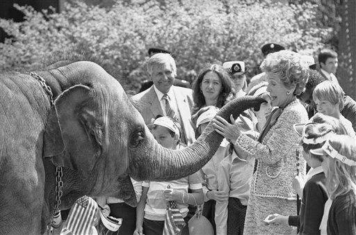 <div class='meta'><div class='origin-logo' data-origin='AP'></div><span class='caption-text' data-credit='Associated Press'>Nancy Reagan at the London Zoo.</span></div>