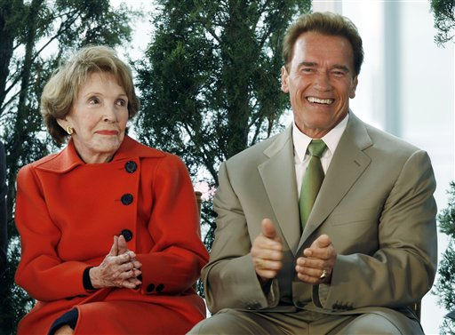 <div class='meta'><div class='origin-logo' data-origin='AP'></div><span class='caption-text' data-credit='AP'>Former first lady Nancy Reagan and Gov. Arnold Schwarzenegger react to a speech during a dedication ceremony for the Ronald Reagan UCLA Medical Center</span></div>