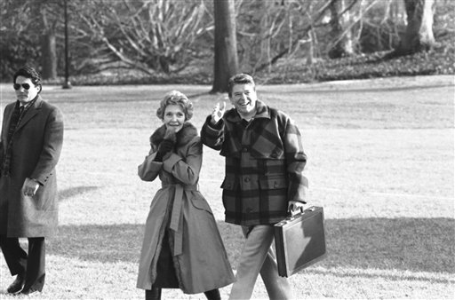 <div class='meta'><div class='origin-logo' data-origin='AP'></div><span class='caption-text' data-credit='Associated Press'>President Ronald Reagan and Nancy Reagan walk on the South Lawn of the White House in 1984.</span></div>