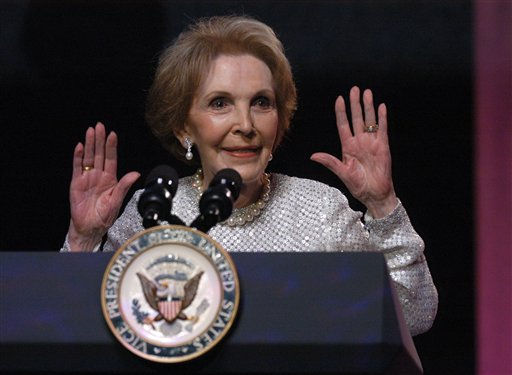 <div class='meta'><div class='origin-logo' data-origin='AP'></div><span class='caption-text' data-credit=''>Nancy Reagan gives her remarks at the &#34;A Nation Honors Nancy Reagan&#34; program in 2005.</span></div>