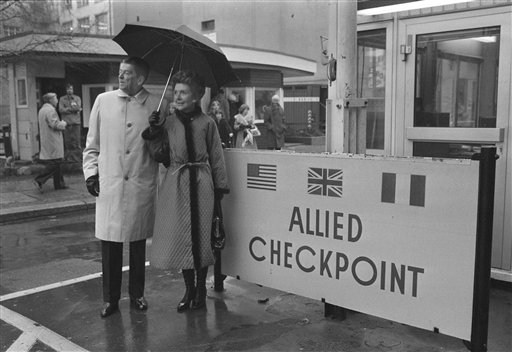 <div class='meta'><div class='origin-logo' data-origin='AP'></div><span class='caption-text' data-credit='ASSOCIATED PRESS'>Ronald Reagan and Nancy Reagan in  East Berlin at sector border on Checkpoint Charlie in 1978</span></div>