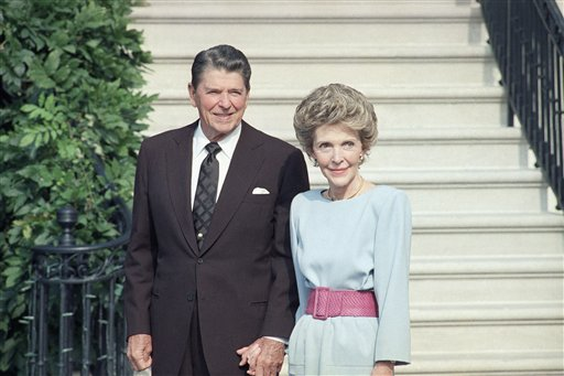 <div class='meta'><div class='origin-logo' data-origin='AP'></div><span class='caption-text' data-credit='ASSOCIATED PRESS'>U.S. President Ronald Reagan and his wife Nancy Reagan in 1986 at the White House.   (</span></div>