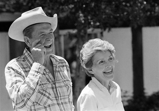 "<div class=""meta image-caption""><div class=""origin-logo origin-image ap""><span>AP</span></div><span class=""caption-text"">Ronald Reagan and wife Nancy take time away from campaigning for a relaxing ride around their ranch just North of Santa Barbara (AP)</span></div>"