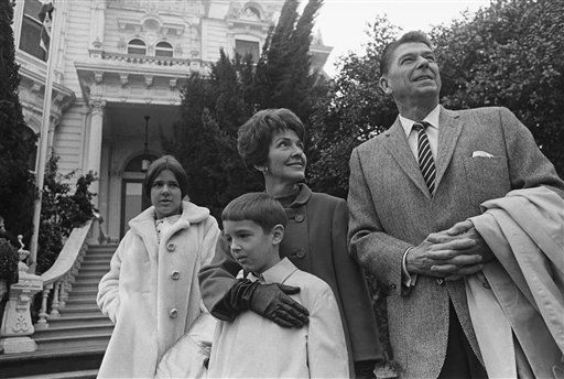 <div class='meta'><div class='origin-logo' data-origin='AP'></div><span class='caption-text' data-credit='AP'>Ronald Reagan, California's Republican governor-elect, poses for pictures with his wife, Nancy, and children Ronald Jr., 8, and Patricia, 13, in 1967.</span></div>