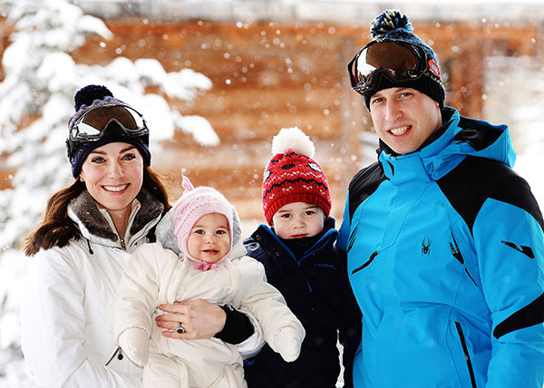 <div class='meta'><div class='origin-logo' data-origin='none'></div><span class='caption-text' data-credit='John Stillwell/Pool via AP'>Prince William, right, and Kate the Duchess of Cambridge pose with their children, Princess Charlotte, centre left, and Prince George while on vacation in the French Alps.</span></div>