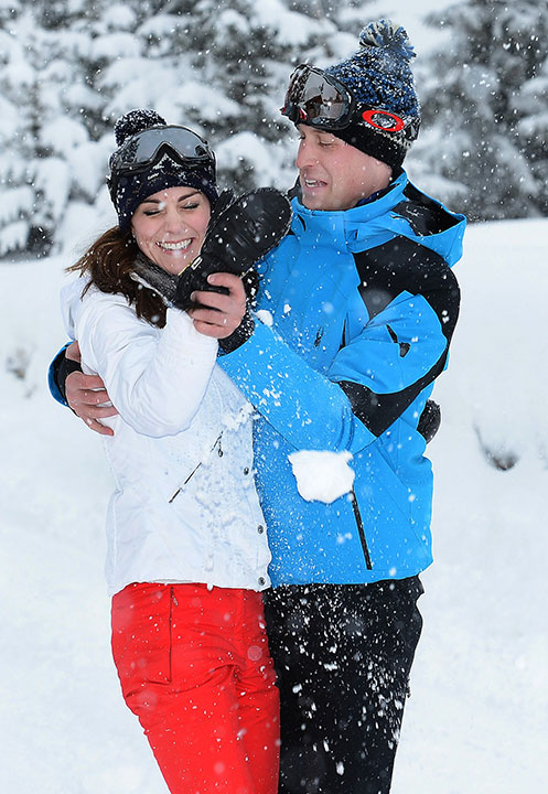 <div class='meta'><div class='origin-logo' data-origin='none'></div><span class='caption-text' data-credit='John Stillwell/Pool via AP'>Prince William and Kate Duchess of Cambridge enjoy a snow ball fight while on vacation in the French Alps on March 3, 2016.</span></div>