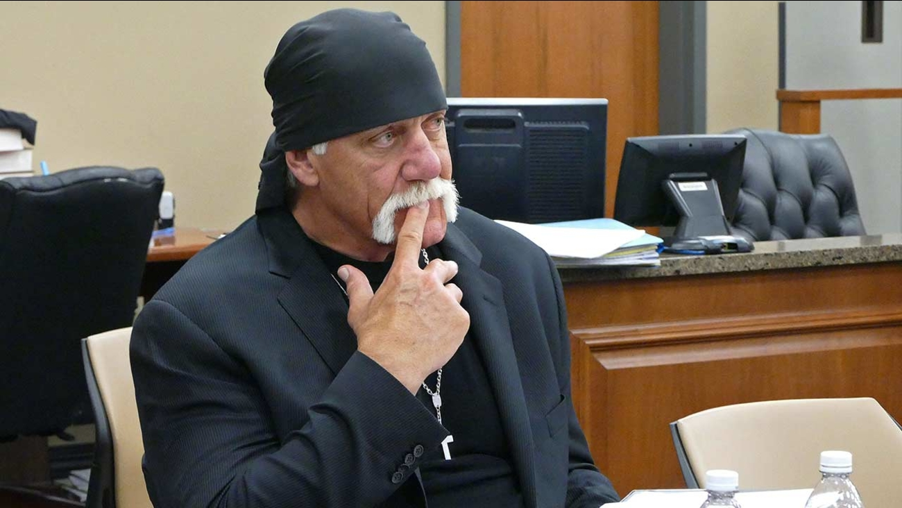 Terry Bollea, known as professional wrestler Hulk Hogan, watches potential jurors at the Pinellas County Courthouse.