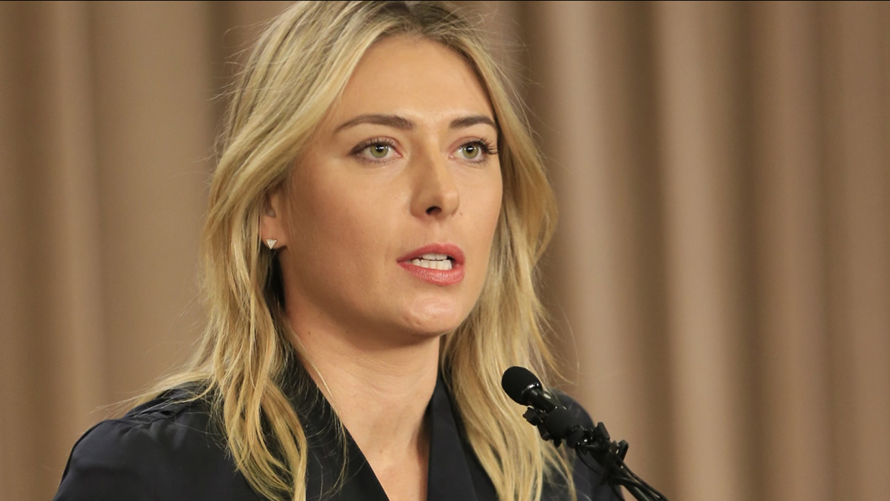 Tennis star Maria Sharapova speaks during a news conference in Los Angeles on Monday, March 7, 2016. Sharapova says she has failed a drug test at the Australian Open.