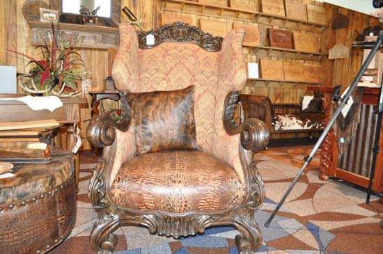 "<div class=""meta image-caption""><div class=""origin-logo origin-image none""><span>none</span></div><span class=""caption-text"">His and Her Custom Alligator Chairs: $3995 for the pair; $1995 each</span></div>"