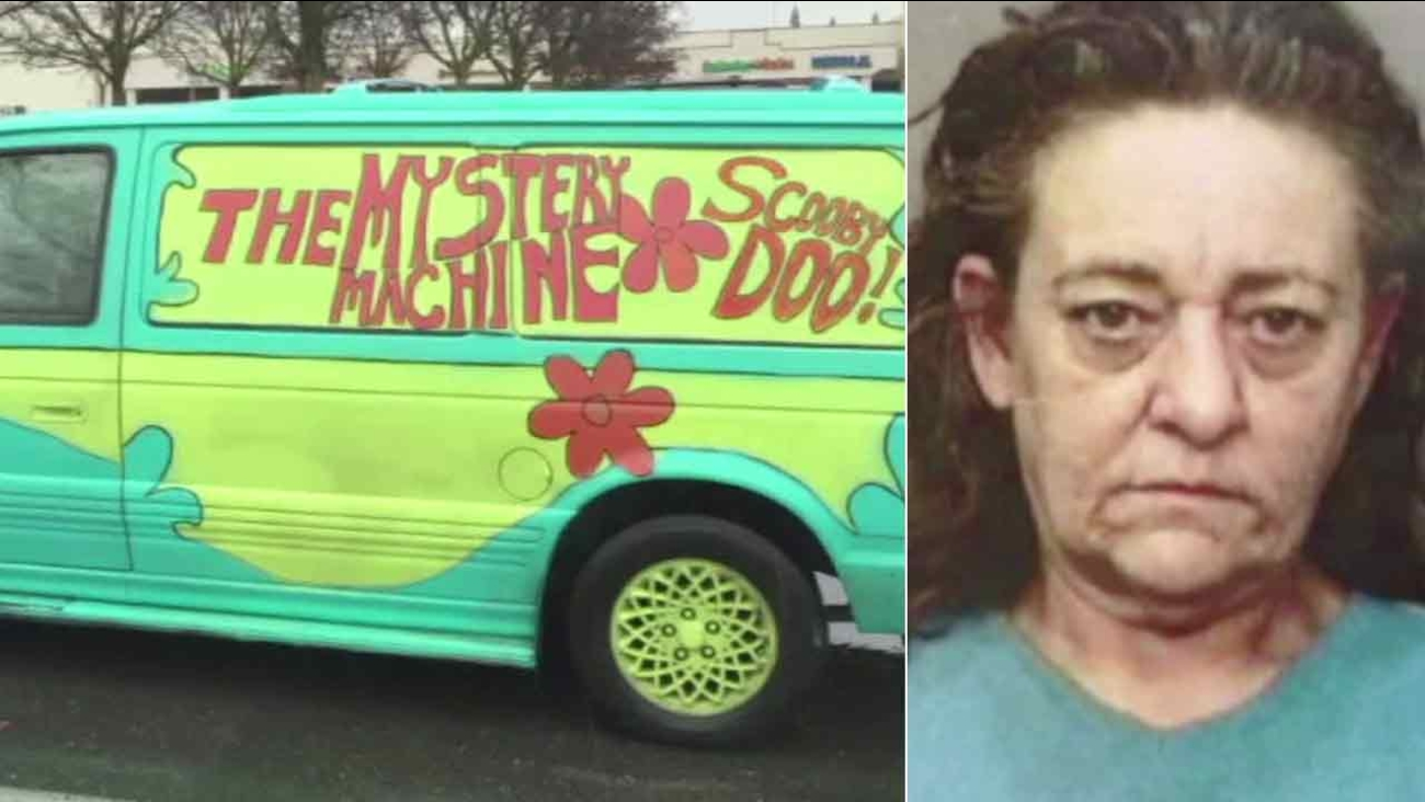 "Sharon Truman, right, accused of leading police on a chase in Redding, Calif., in a minivan that resembles the ""Mystery Machine."""