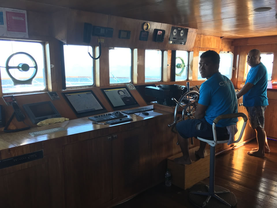 """<div class=""""meta image-caption""""><div class=""""origin-logo origin-image none""""><span>none</span></div><span class=""""caption-text"""">This image taken in March 2016 shows crew members on a boat heading to the remote island of Woleai, a tiny atoll in Micronesia. (The Exploratorium)</span></div>"""