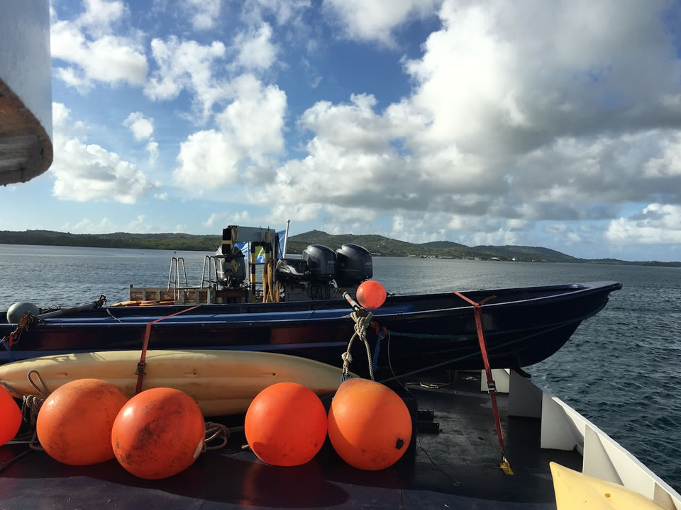 """<div class=""""meta image-caption""""><div class=""""origin-logo origin-image none""""><span>none</span></div><span class=""""caption-text"""">This image taken in March 2016 shows a boat that helped carry Exploratorium workers to the remote island of Woleai, a tiny atoll in Micronesia. (The Exploratorium)</span></div>"""