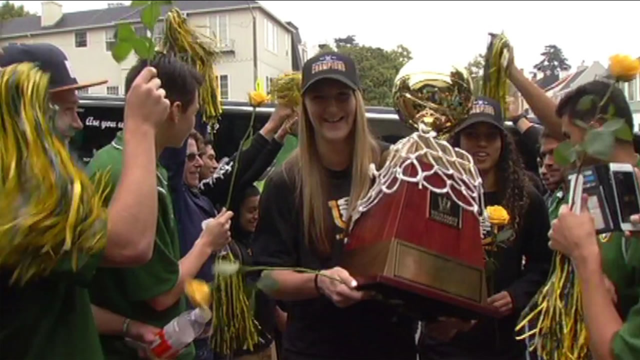 The University of San Francisco women's basketball team received a champion's welcome Wednesday, March 9, 2016  after winning West Coast Conference Championships.