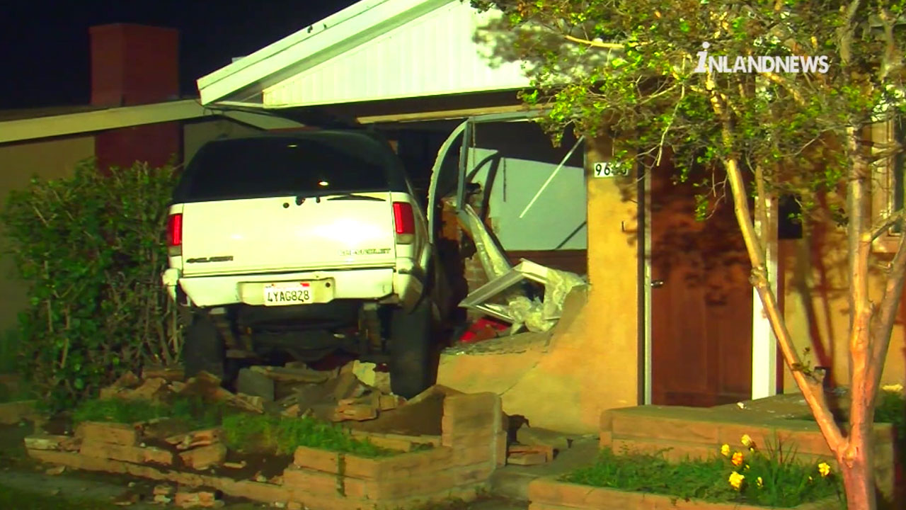 A white SUV slammed into a vacant house in the 9600 block of Pradera Avenue in Montclair Wednesday, March 9, 2016.