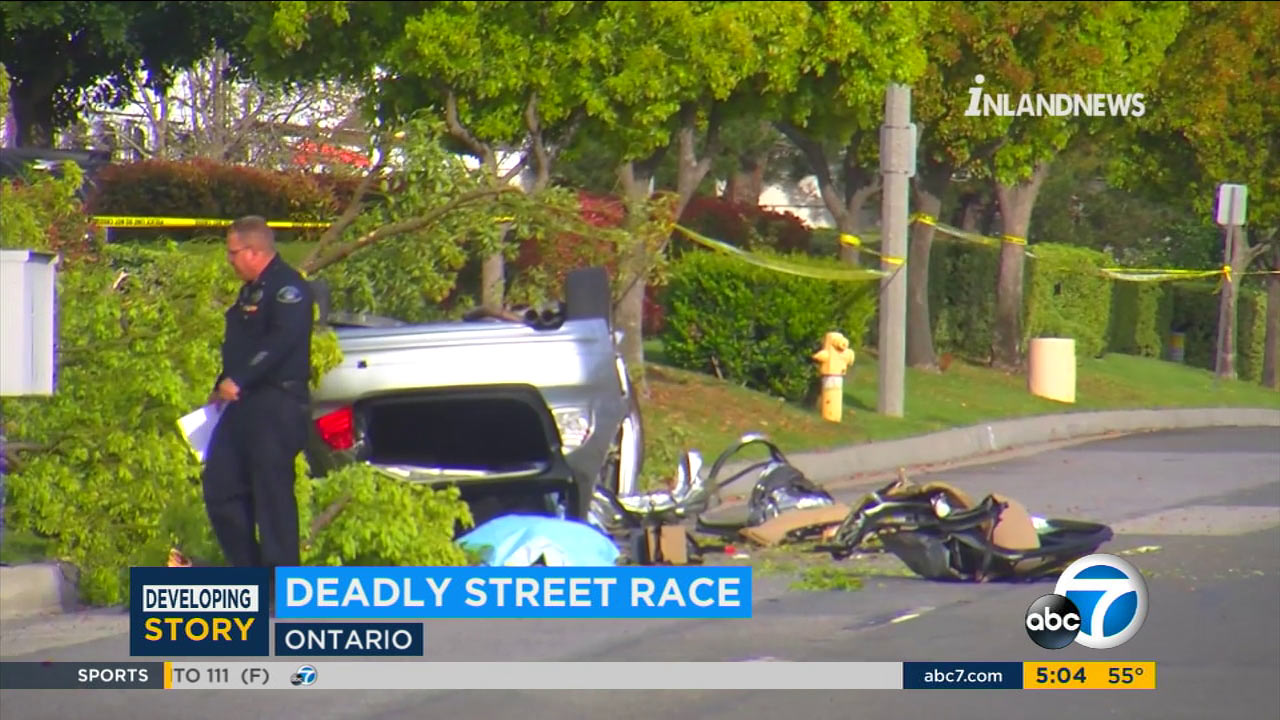 One man died after he flipped his car and hit a tree during a street race in Ontario.