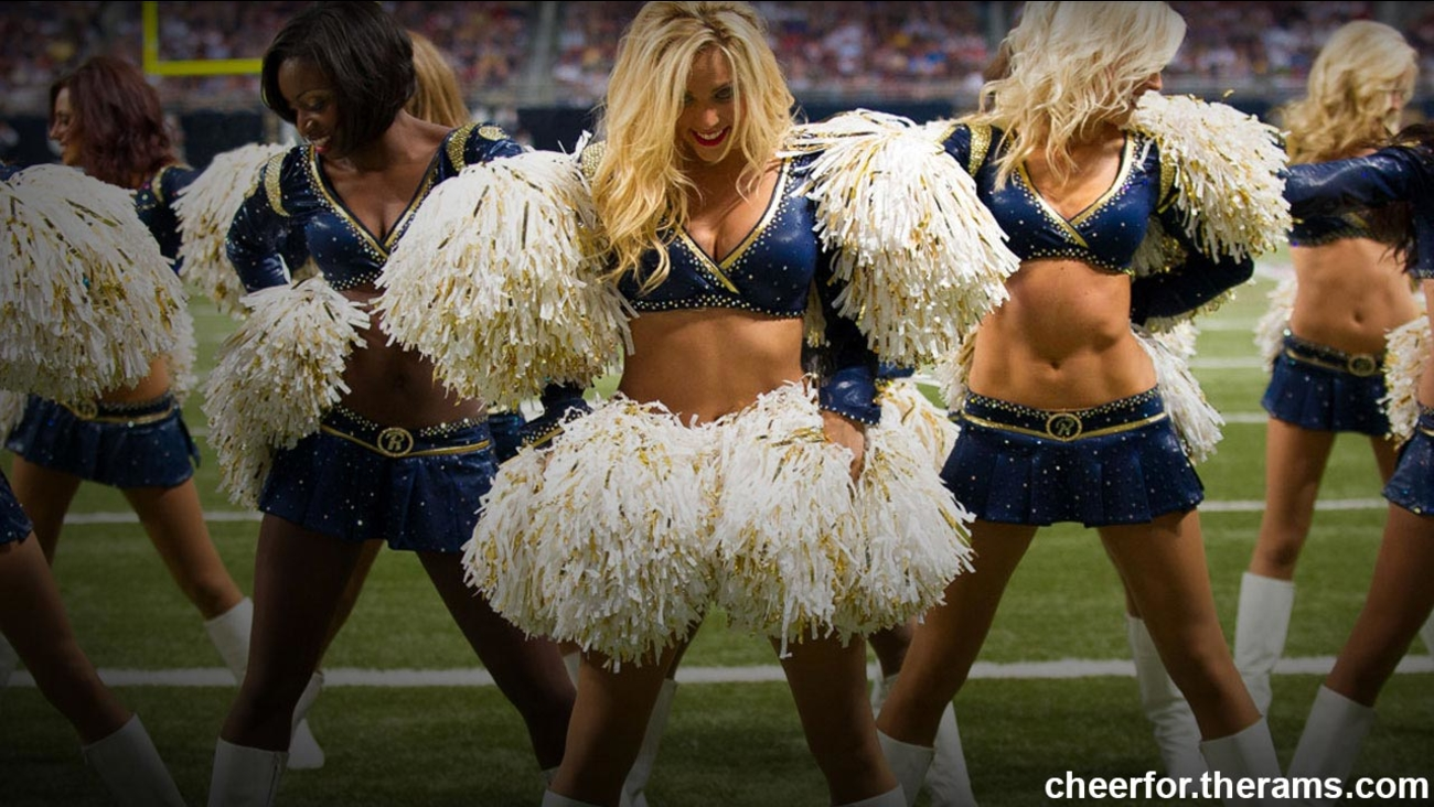 Cheerleaders are seen in this photo from the Los Angeles Rams Cheerleaders' website.