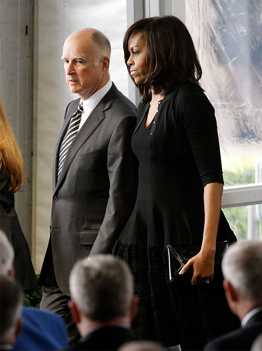 "<div class=""meta image-caption""><div class=""origin-logo origin-image ap""><span>AP</span></div><span class=""caption-text"">California Gov. Jerry Brown, left, and first lady Michelle Obama arrive at the funeral service for Nancy Reagan on Friday, March 11, 2016 in Simi Valley, Calif. (Jae C. Hong/AP)</span></div>"