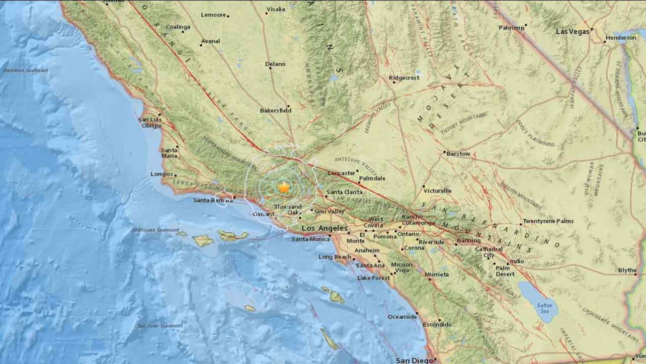 A 4.2-magnitude earthquake strikes near Ojai, Calif. on Saturday, March 12, 2016.