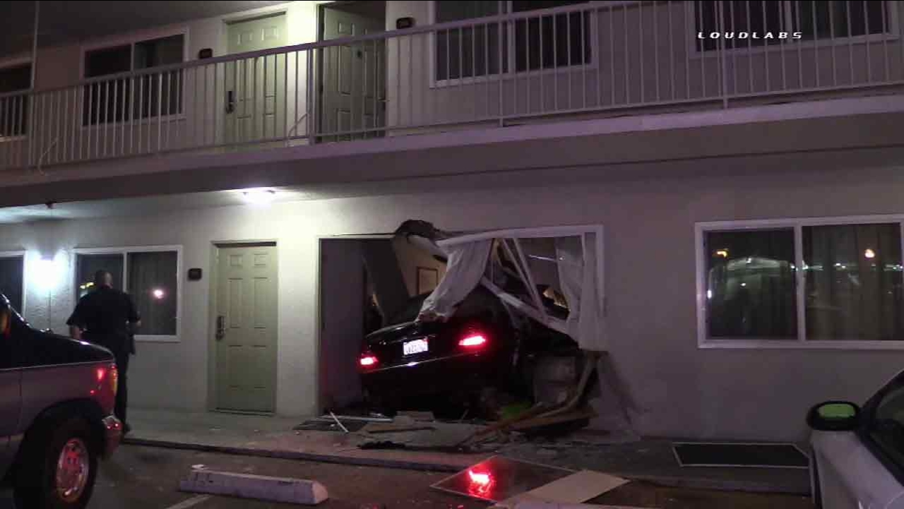 A car crashed into a hotel in San Bernardino, Calif. on Friday, March 11, 2016.