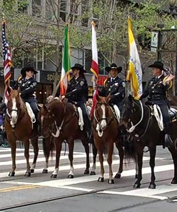 "<div class=""meta image-caption""><div class=""origin-logo origin-image none""><span>none</span></div><span class=""caption-text"">Officers on horses are seen taking part in the San Francisco St. Patrick's Day Parade on Saturday, March 12, 2016. (KGO-TV)</span></div>"