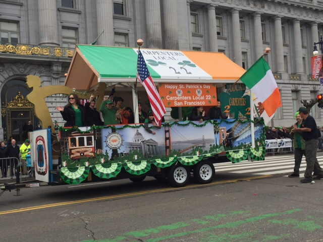 "<div class=""meta image-caption""><div class=""origin-logo origin-image none""><span>none</span></div><span class=""caption-text"">A float passes by San Francisco City Hall during the St. Patrick's Day Parade in San Francisco, Calif., on Saturday, March 12, 2016. (KGO-TV/Joann Hartmann)</span></div>"