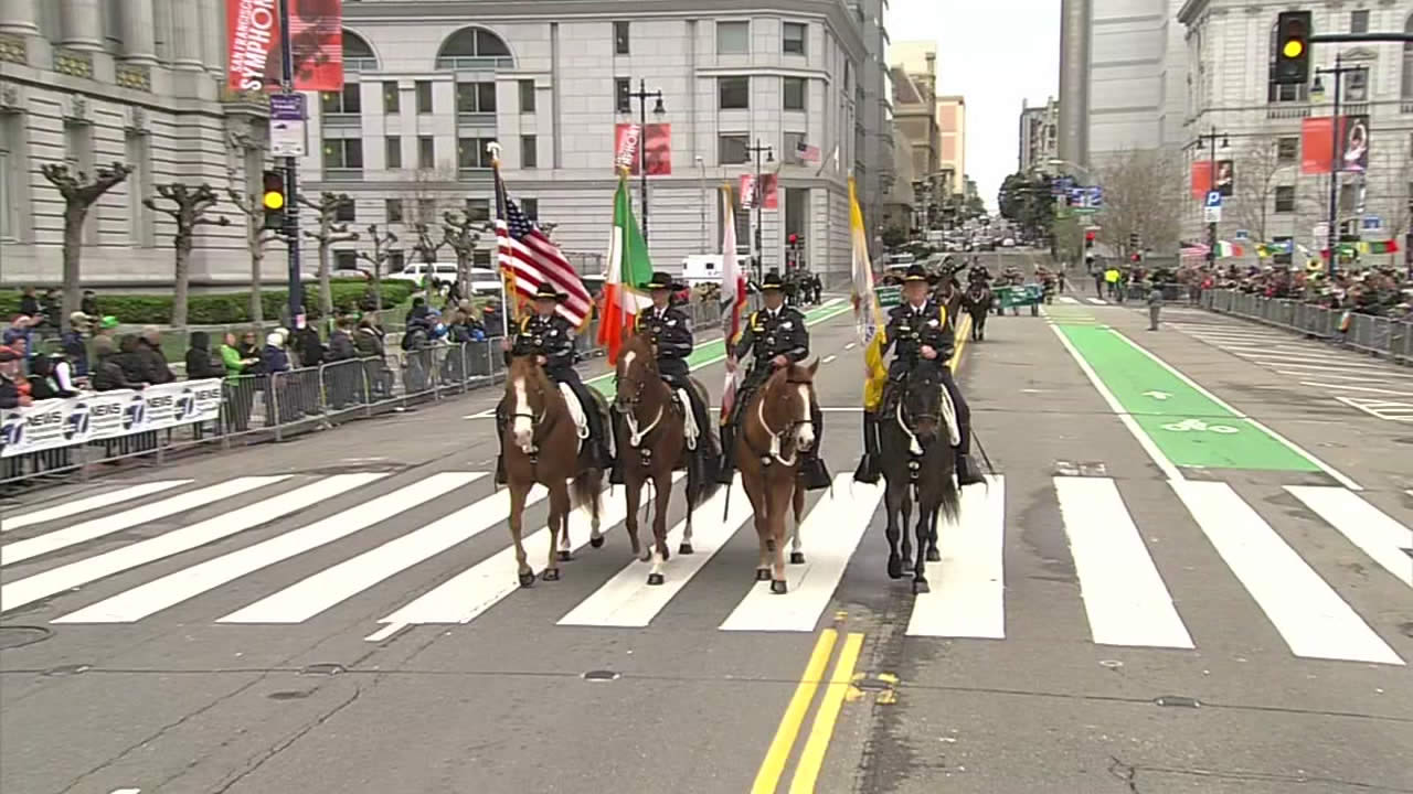"<div class=""meta image-caption""><div class=""origin-logo origin-image none""><span>none</span></div><span class=""caption-text"">The Mounted Color Guard with the SFPD leads off the the St. Patrick's Day Parade in San Francisco on Saturday, March 12, 2016. (KGO-TV)</span></div>"