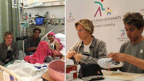 Daniel Lara and Josh Holz, the teens behind the hit video 'Damn Daniel,' visit patients at Loma Linda University Children's Hospital.
