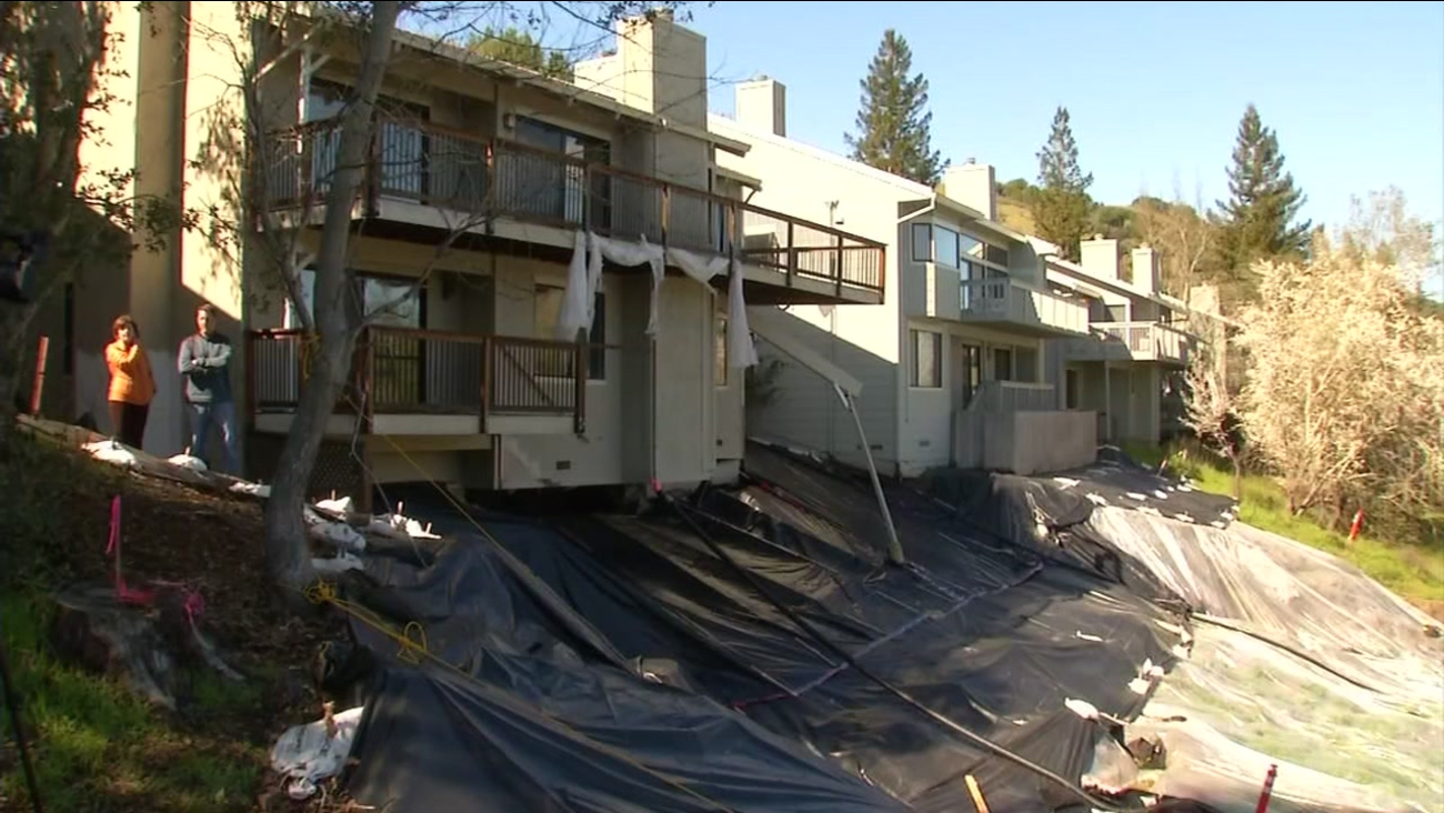 A landslide damages a home in Moraga, Calif. in this undated image.