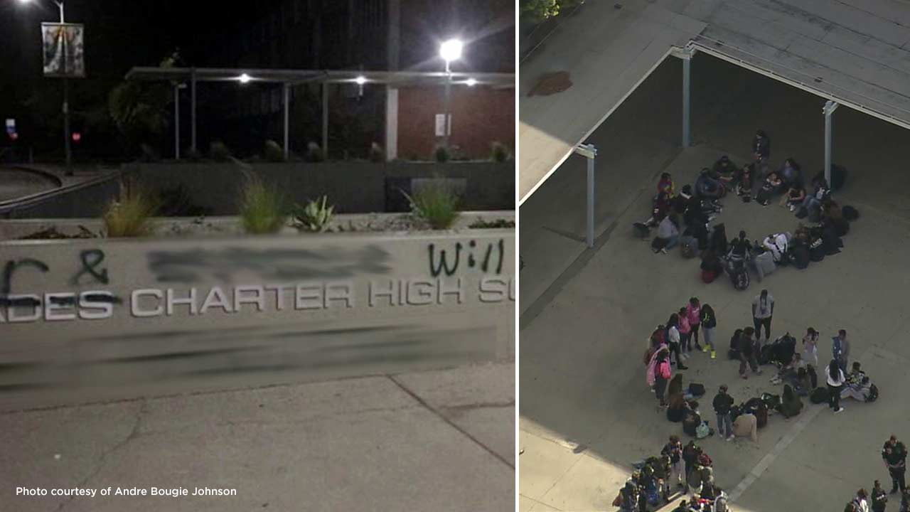 Racial graffiti sprawled at Palisades Charter High School (left) over the weekend sparked student protests (right) on Monday, March 14, 2016.