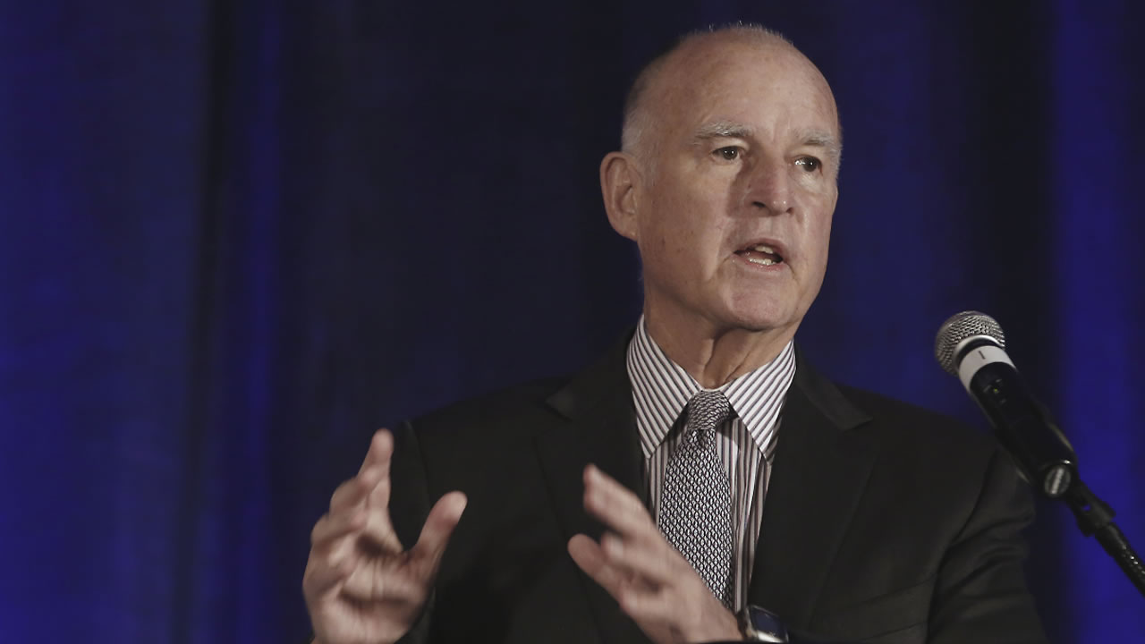 In this Jan. 14, 2016, file photo, California Gov. Jerry Brown speaks at the Association of California Water Agencies conference in Sacramento, Calif.