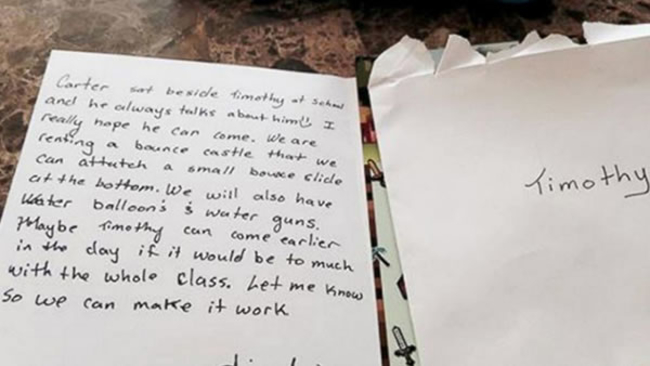 mom moved to tears by birthday party invite sent home with her son abc7newscom