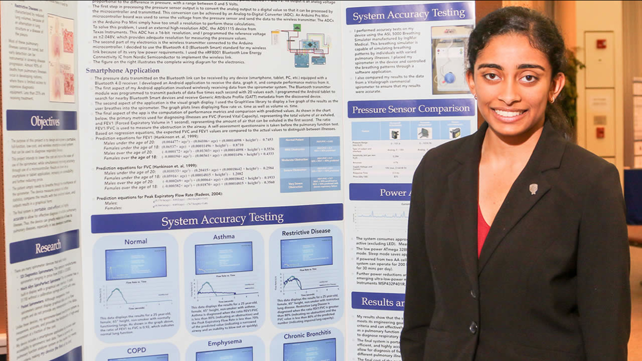This undated image shows 17-year-old Maya Varma of San Jose, Calif. who won the First Place Medal of Distinction for Innovation at the 2016 Intel Talent Science Search.