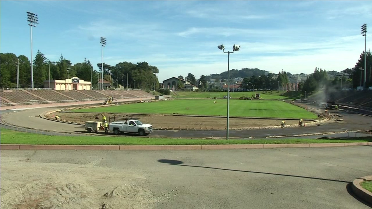 This photo shows Kezar Stadium during its renovation in San Francisco in 2014.